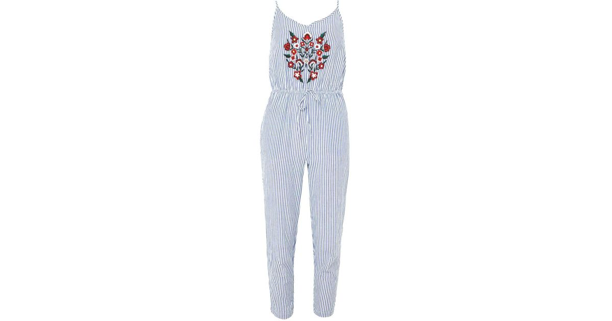 96b6b0e488 Lyst - Dorothy Perkins Blue And White Striped Floral Embroidery Jumpsuit in  Blue