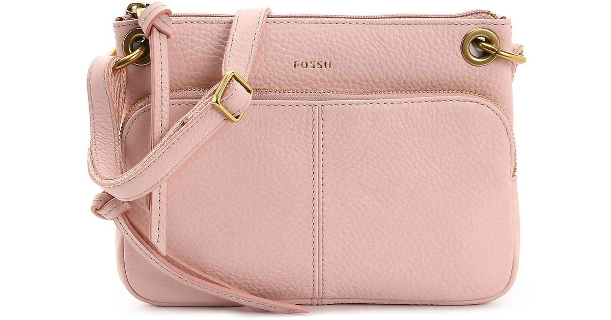 Lyst - Fossil Karli Leather Crossbody Bag in Pink 82b2be5e28