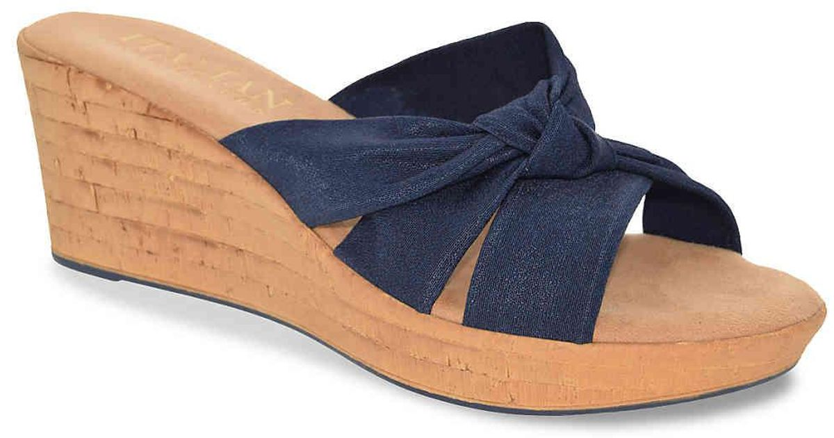 7a20d610e65a Lyst - Italian Shoemakers Panache Wedge Sandal in Blue