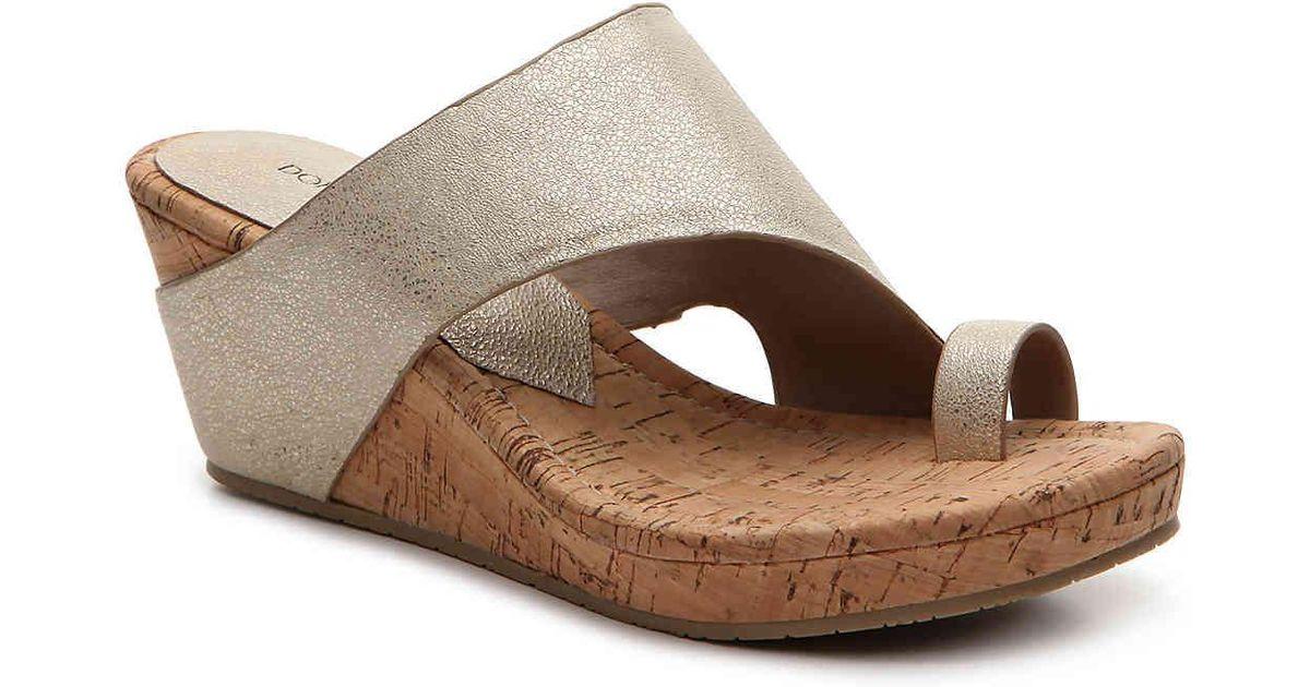 ba84753598b3 Lyst - Donald J Pliner Gyer Wedge Sandal in Metallic