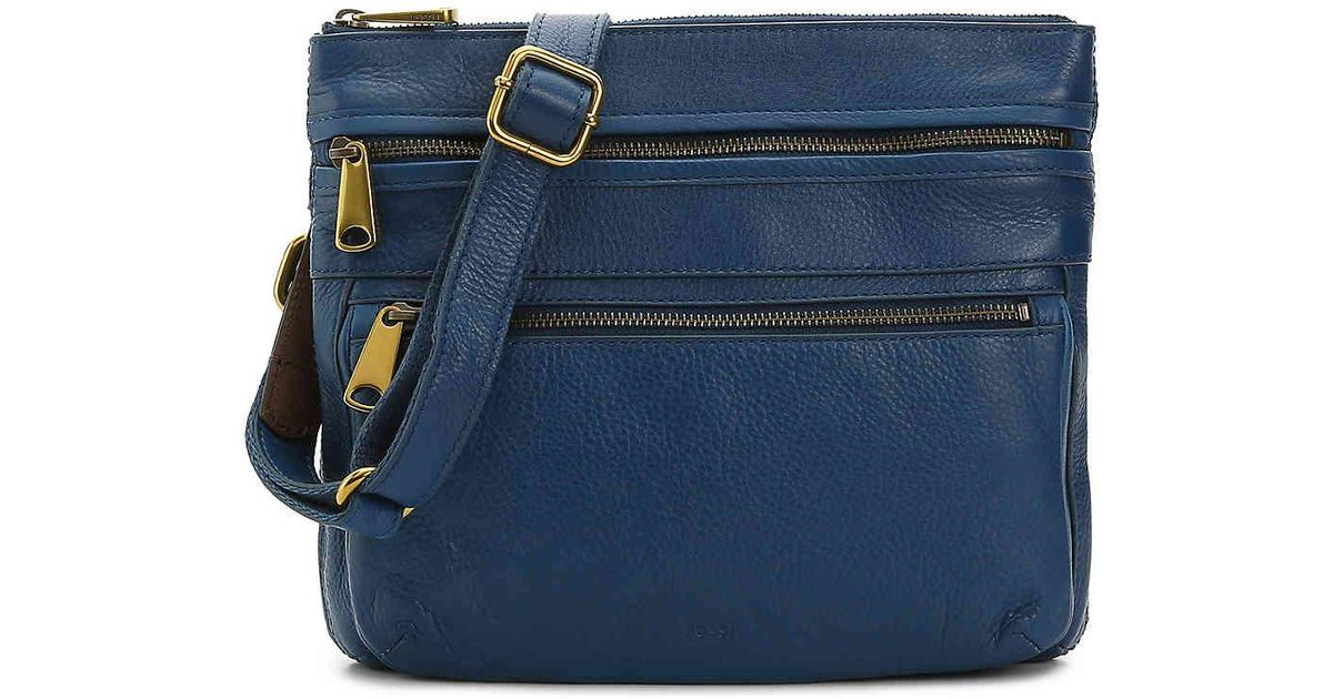 2eb59085f43 Fossil Voyager Leather Crossbody Bag in Blue - Lyst