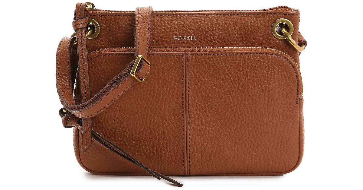 57cd30e541663 Lyst - Fossil Karli Leather Crossbody Bag in Brown