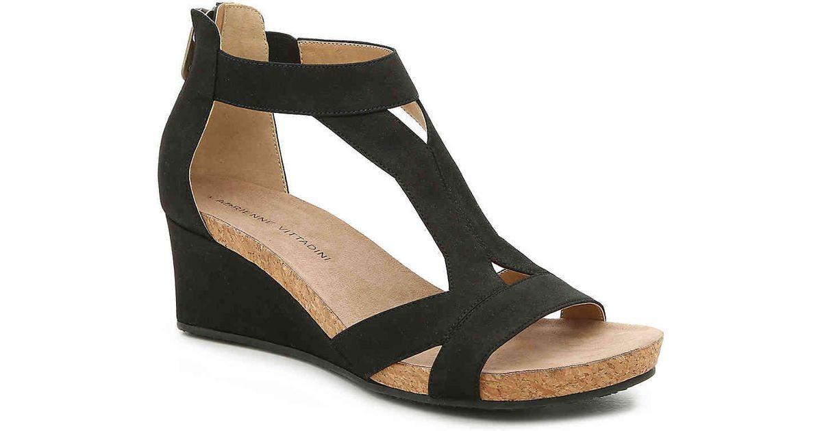 712205f1c63 Lyst - Adrienne Vittadini Thayer Wedge Sandal in Black - Save 38%
