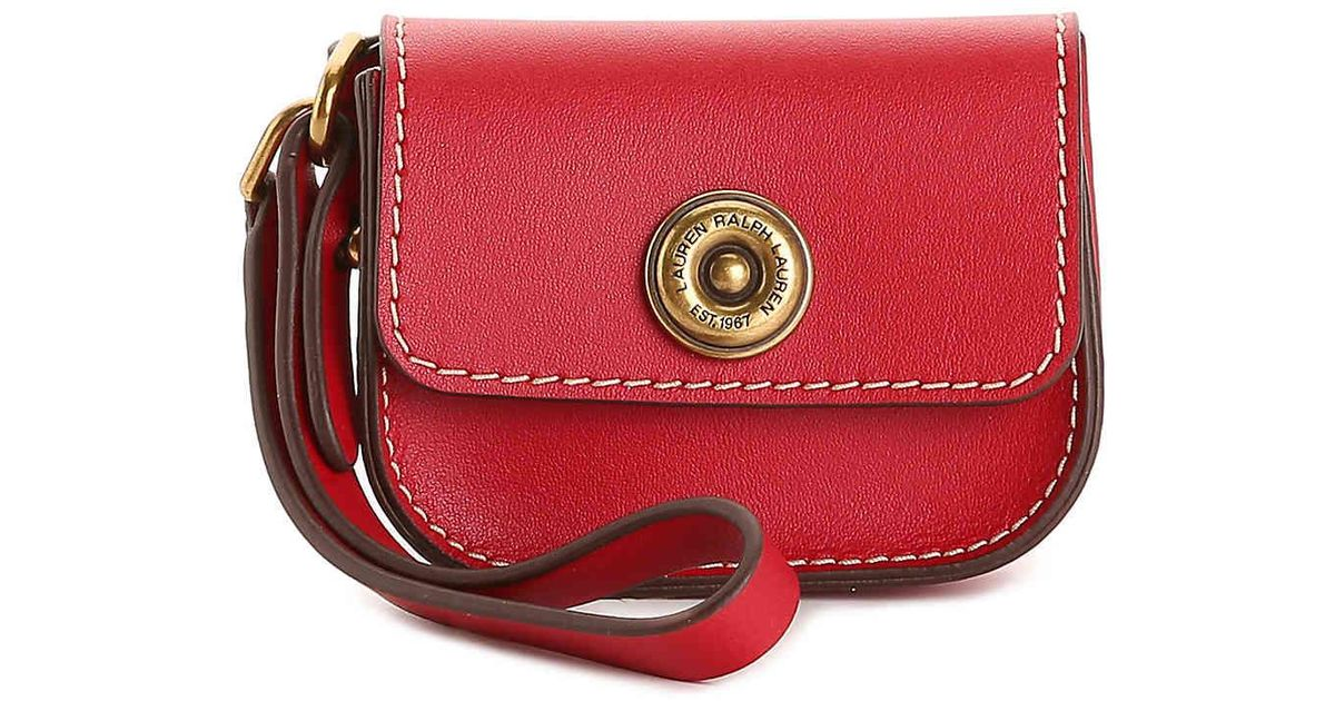20ab01429353 Lyst - Lauren by Ralph Lauren Millbrook Leather Coin Purse in Red