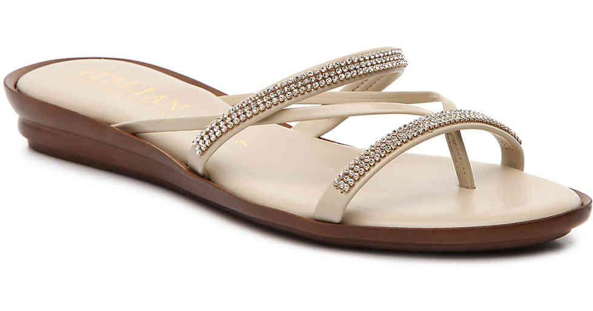 5882192b69 Italian Shoemakers Jewel Wedge Sandal in Natural - Lyst