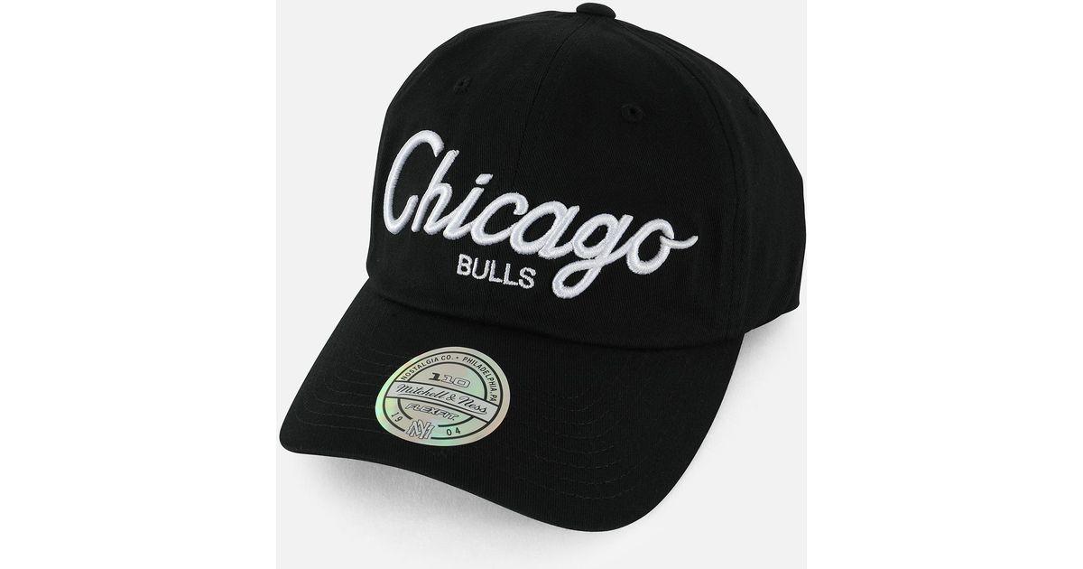 Lyst - Mitchell   Ness Nba Exclusive Chicago Bulls Script Dad Hat in Black  for Men 348c1c0d0823