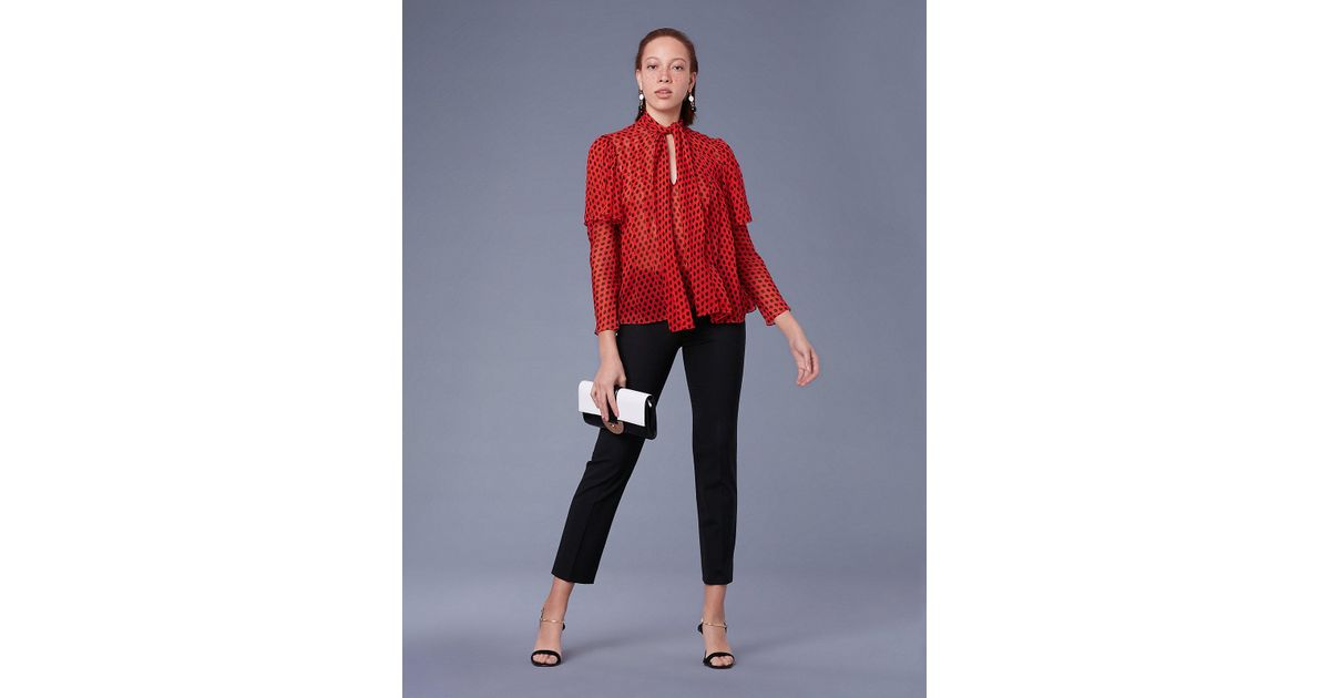 796195bb Diane von Furstenberg Nami Sheer Silk-chiffon Necktie Blouse in Red - Lyst