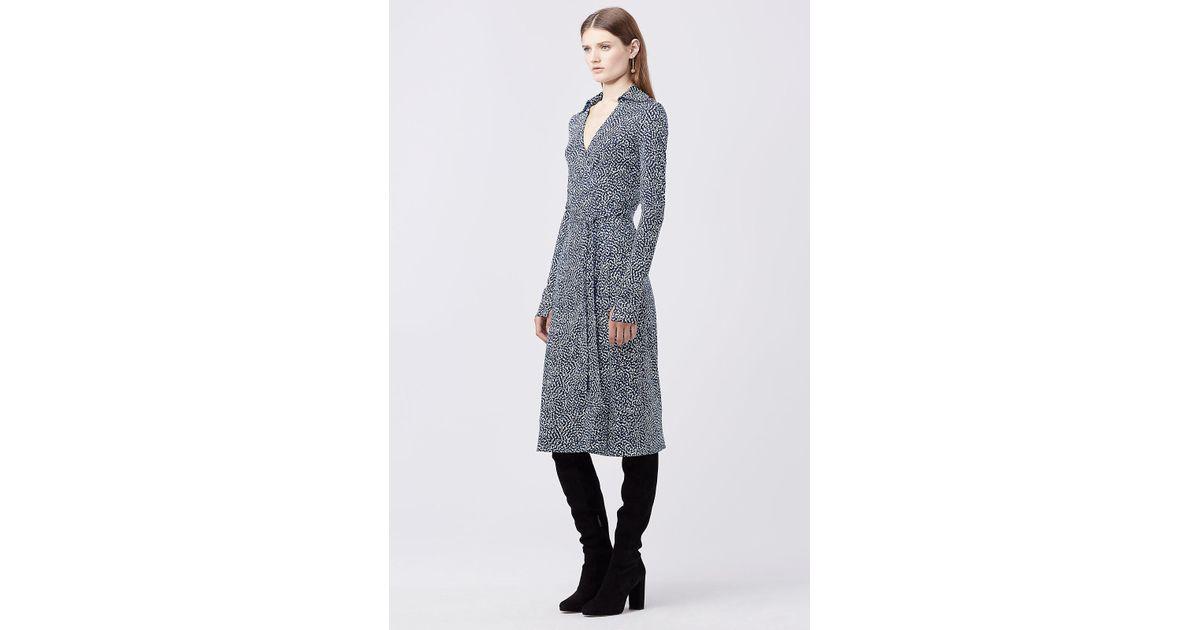 8e9cccb65b88b Diane von Furstenberg Dvf Cybil Silk Jersey Midi Wrap Dress in Blue - Lyst