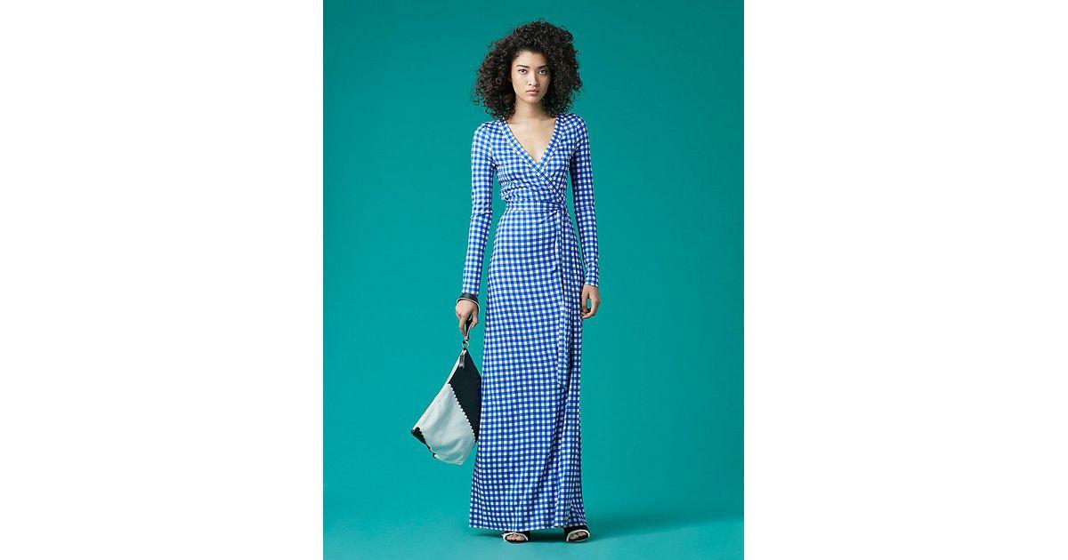 82c030e419b Diane von Furstenberg New Julian Long Banded Silk Jersey Wrap Dress in Blue  - Lyst