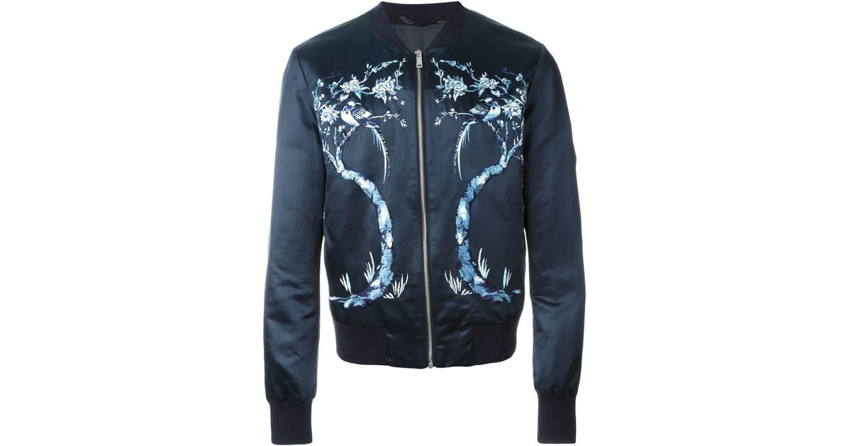 b0403bec4ac Alexander McQueen Tree Embroidered Bomber Jacket in Blue for Men - Lyst