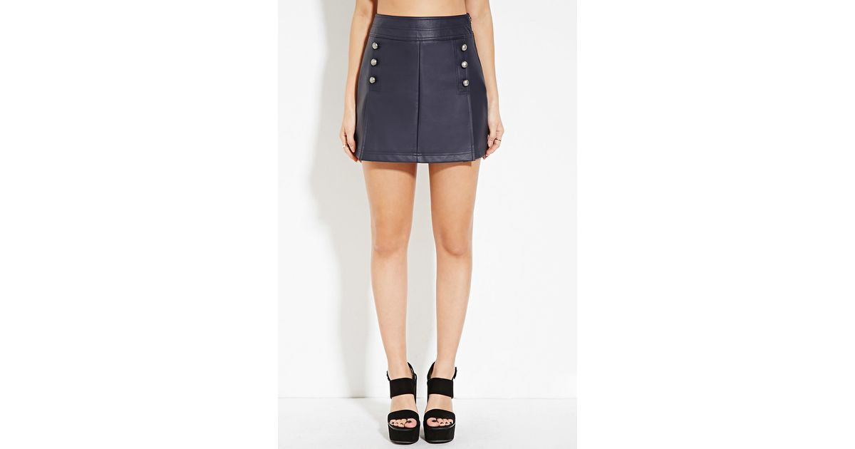 forever 21 faux leather studded skirt in blue lyst