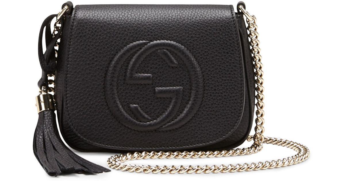 9a12d4a975f Lyst - Gucci Soho Leather Chain Crossbody Bag in Black