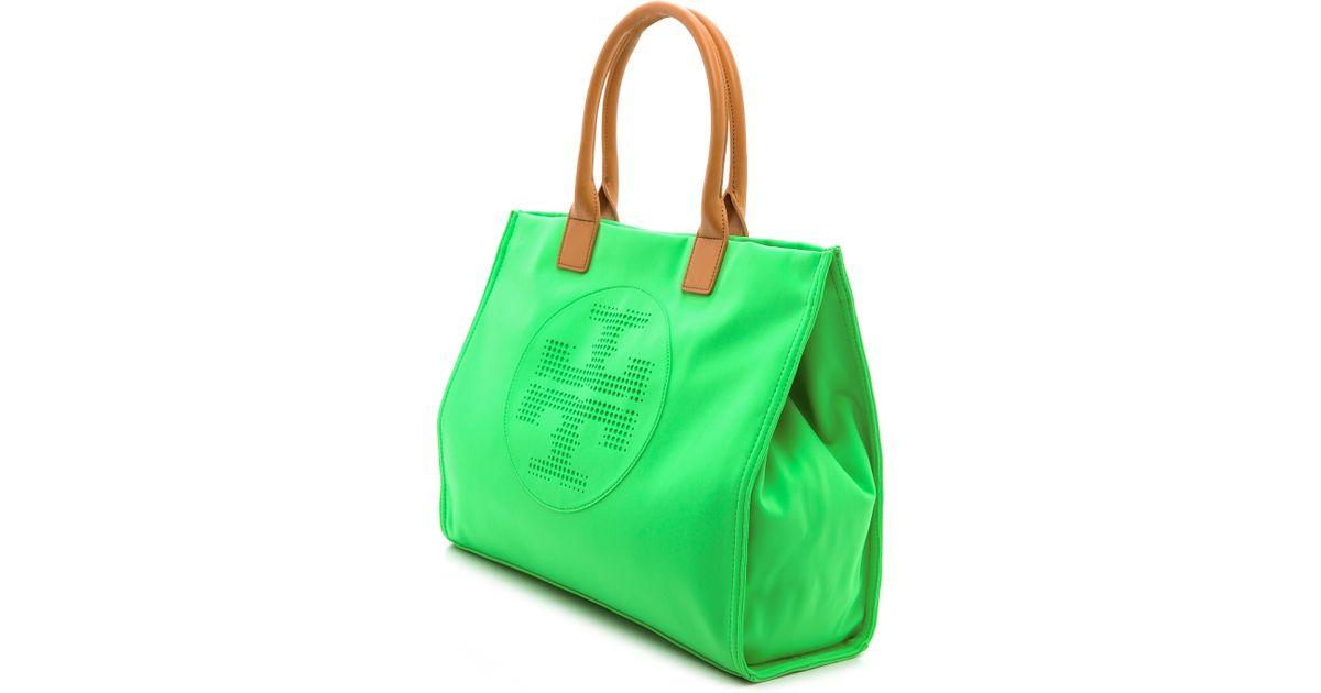 7a054d9678f Lyst - Tory Burch Ella Neoprene Tote Green in Green