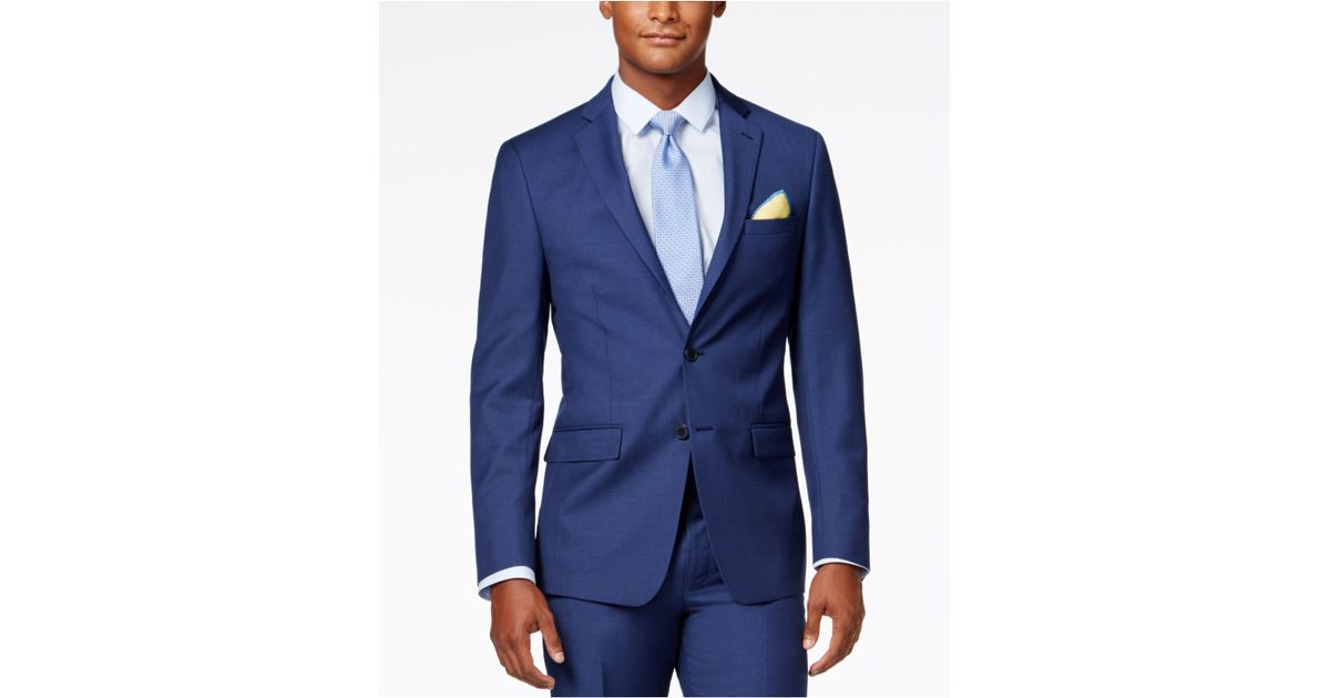 calvin klein x fit blue solid extra slim fit jacket in blue for men lyst. Black Bedroom Furniture Sets. Home Design Ideas