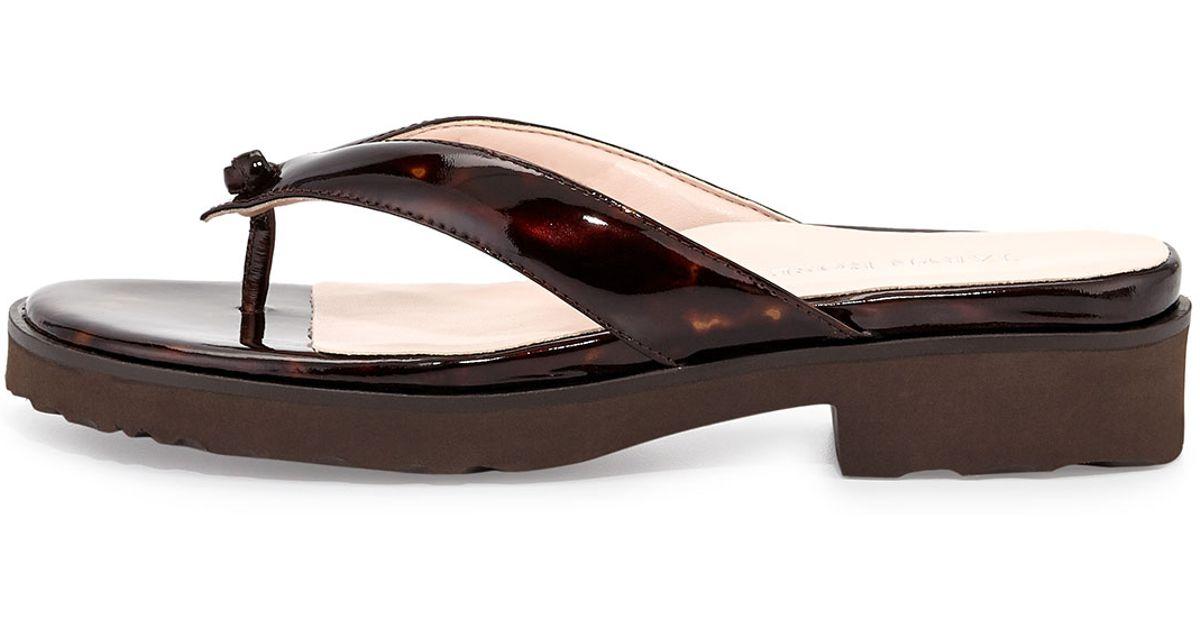 0730c179005 Lyst - Taryn Rose Tara Patent Thong Sandal Tortoise in Black