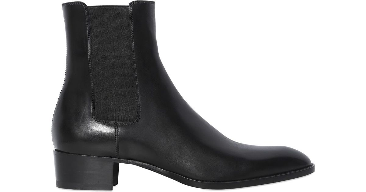 36c99a89b9f4 Lyst - Saint Laurent 40mm Wyatt Leather Chelsea Cropped Boots in Black for  Men