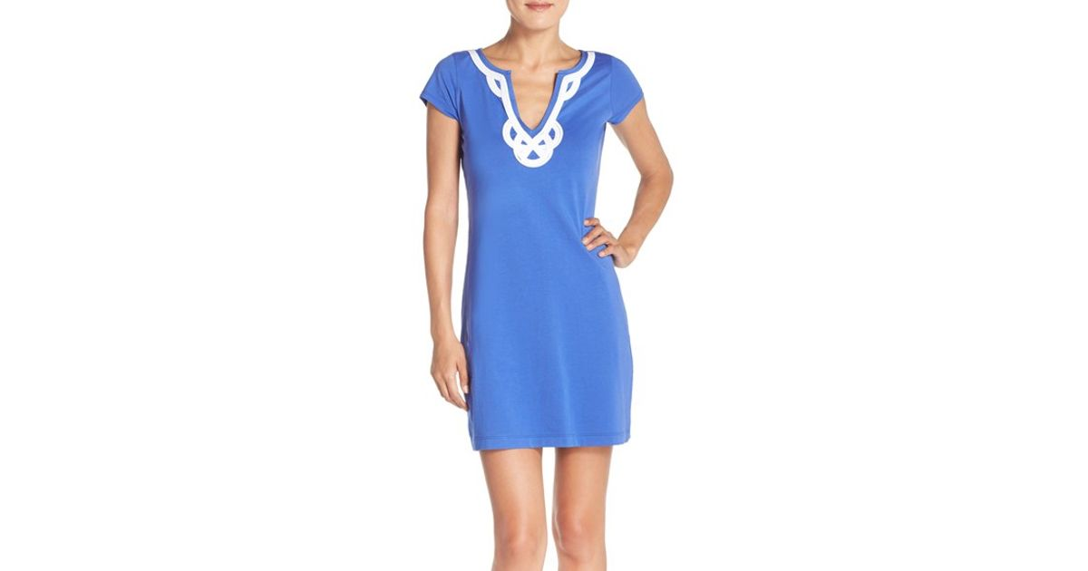 b07fcd95a01e Lilly Pulitzer 'brewster' Pima Cotton T-shirt Dress in Blue - Lyst