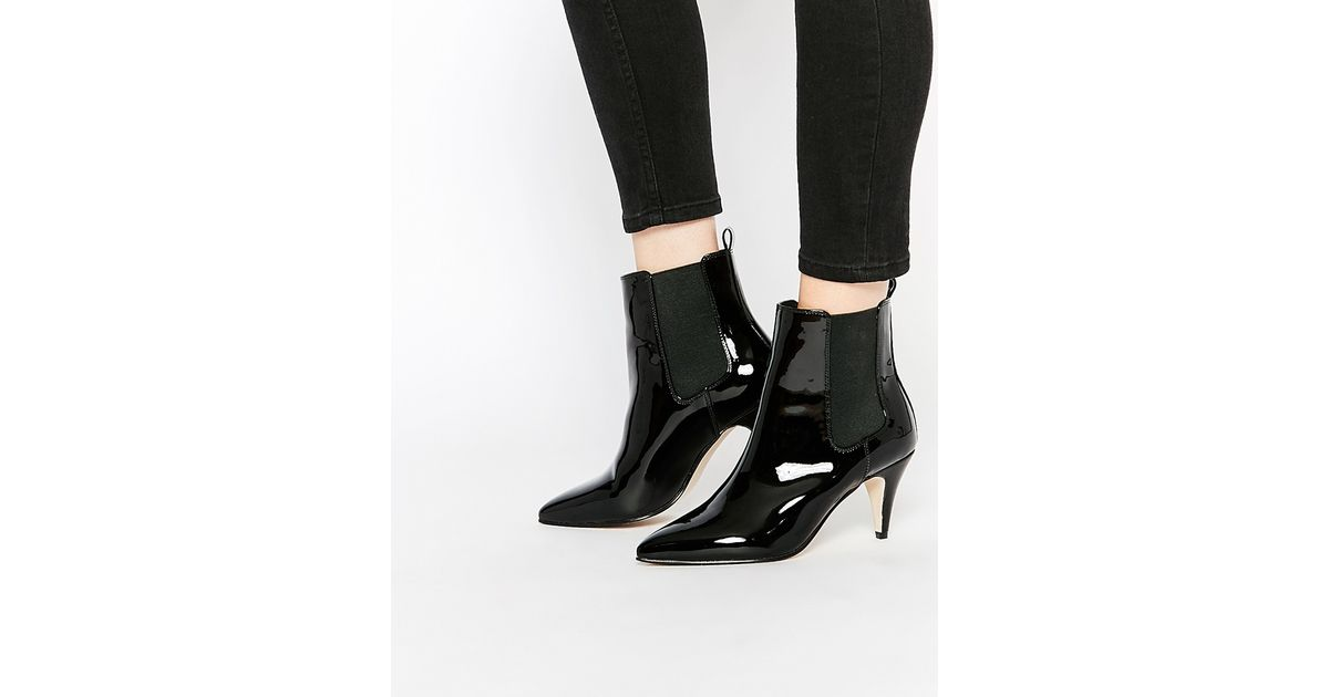 asos pointed kitten heel chelsea boots in black lyst