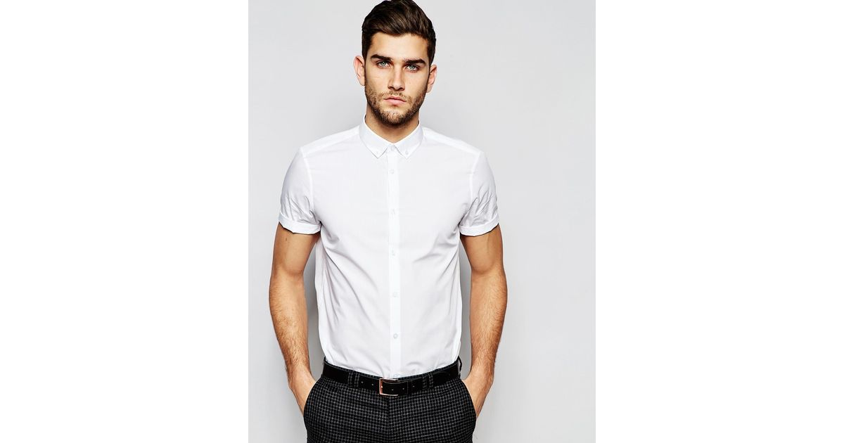 Asos White Shirt With Button Down Collar In Regular Fit