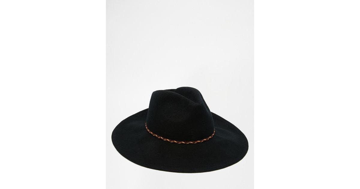 9253d24f371bc1 ASOS Wide Brim Fedora Hat In Black Felt With Plait Band in Black for Men -  Lyst