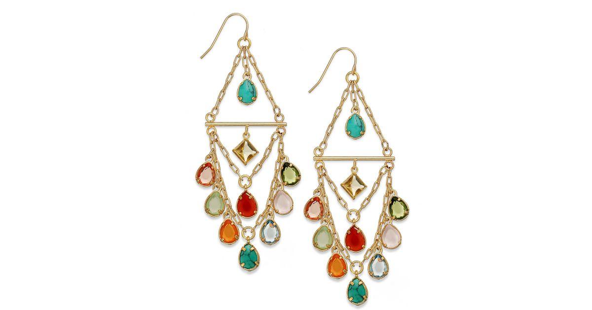 Lyst Lauren By Ralph Goldtone Multicolor Beaded Chandelier Earrings In Metallic