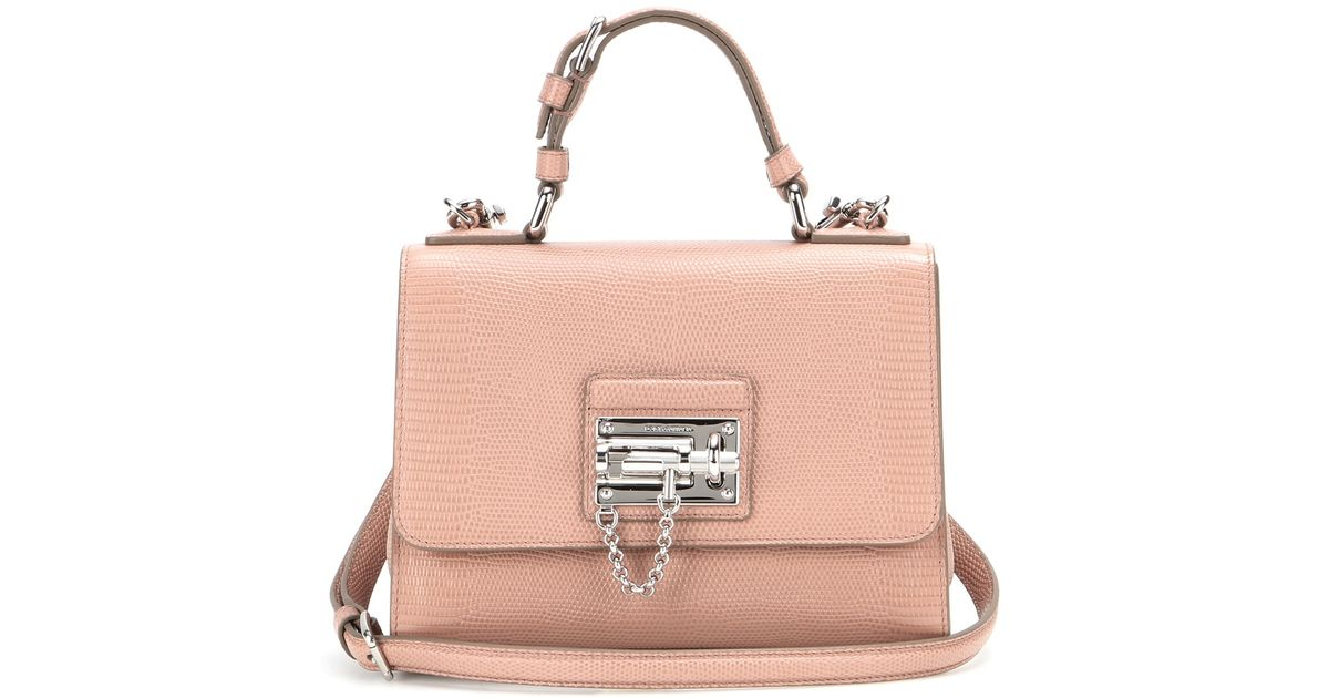 edc9e84f5ea8 Lyst - Dolce   Gabbana Monica Small Embossed Leather Shoulder Bag in Pink