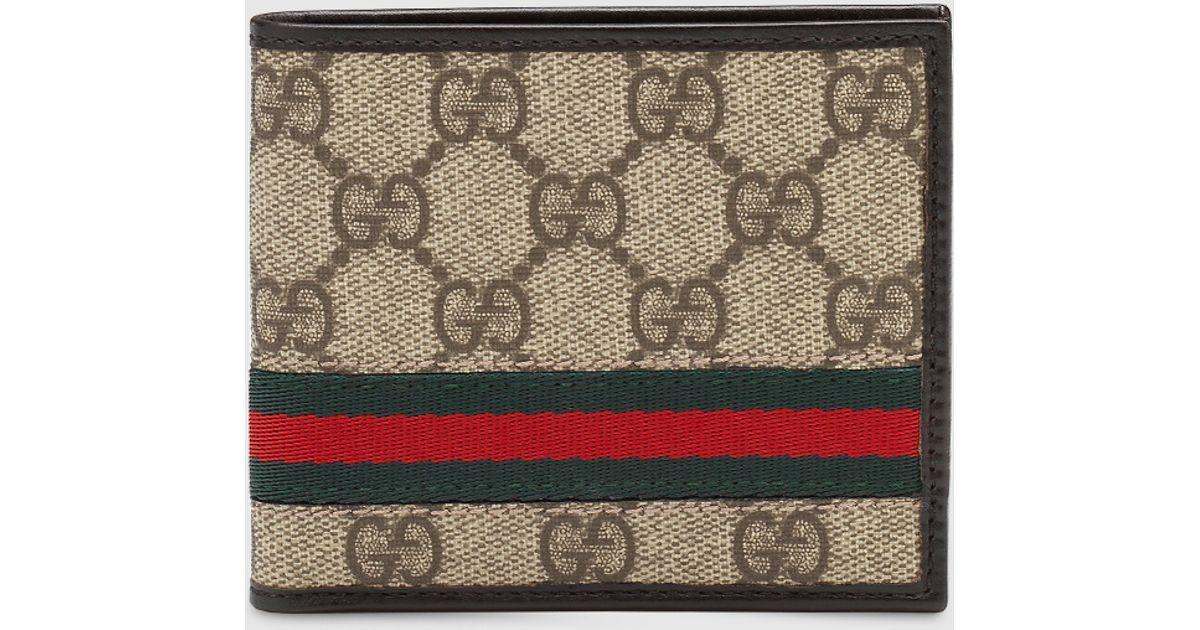 4393c7b3b Gucci Gg Supreme Canvas Bi-fold Wallet in Natural for Men - Lyst