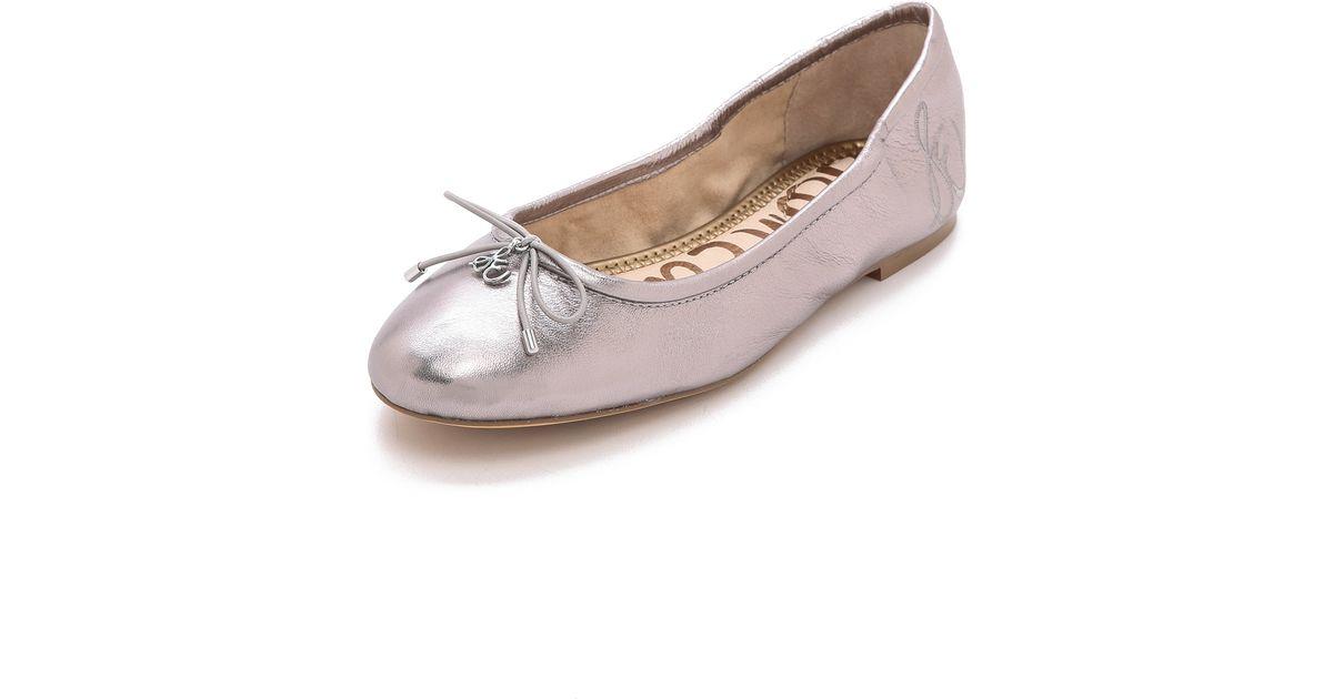 48384e25021b6 Sam Edelman Felicia Metallic Ballet Flats Dark Silver in Pink - Lyst