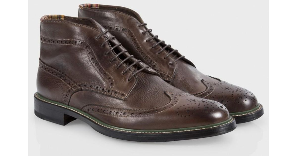 Lyst - Paul Smith Dip-Dyed Brown Leather Grayson Brogue Boots in Brown for  Men e7cc2386d