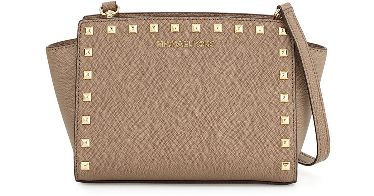 37ce7adb869a Lyst - MICHAEL Michael Kors Selma Medium Studded Messenger Bag in Natural