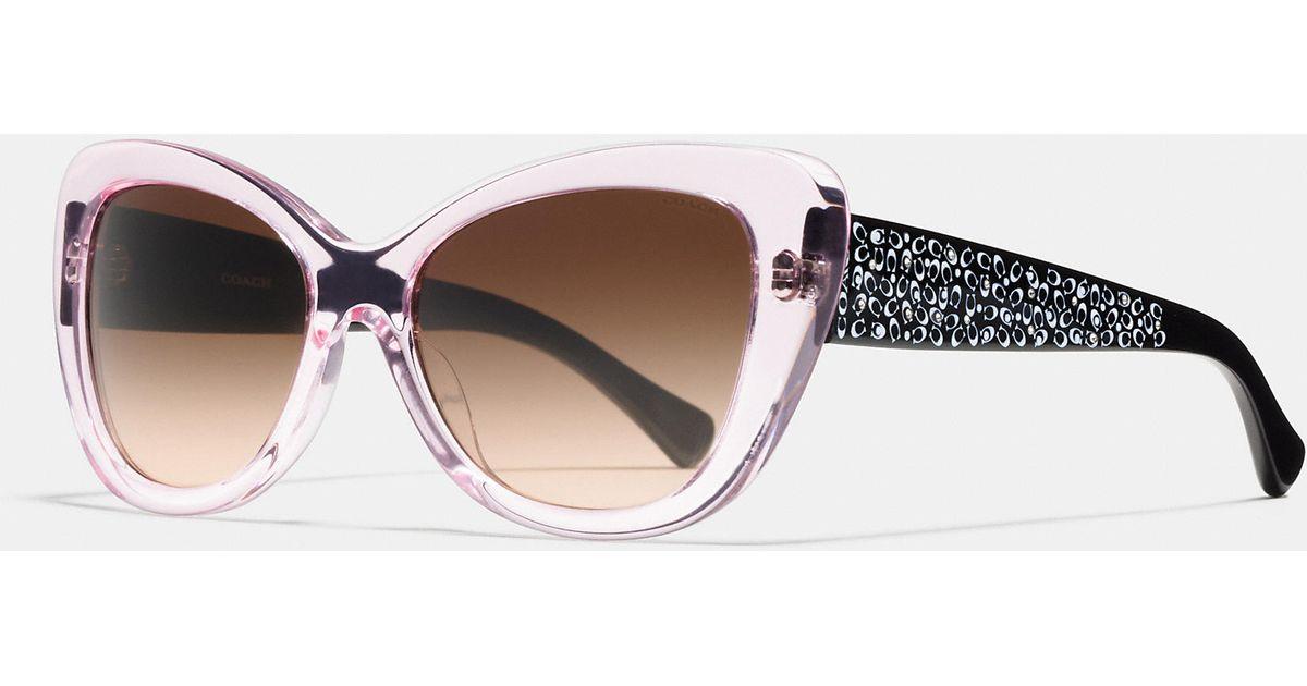 9508696f95e5 usa coach new york square sunglasses 2ba29 81c60; wholesale lyst coach  signature spray cat eye sunglasses in pink da16f 64f2a