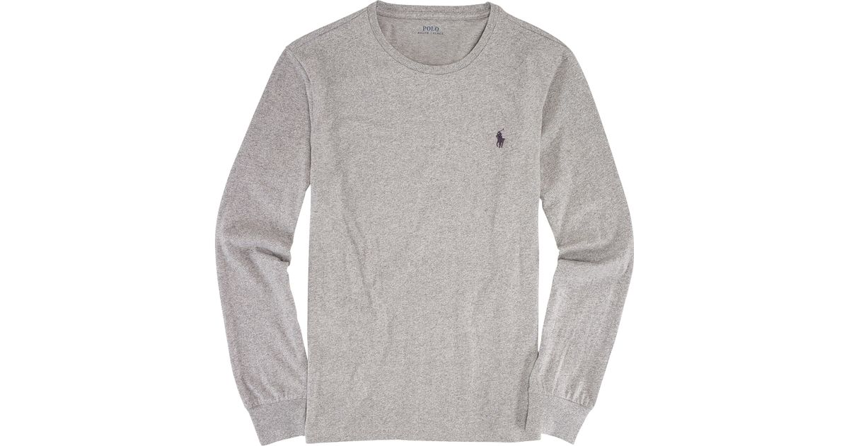 cfe76e14ea6b3 ... 212a88e4a ... shopping polo ralph lauren custom fit long sleeve t shirt  in gray ...
