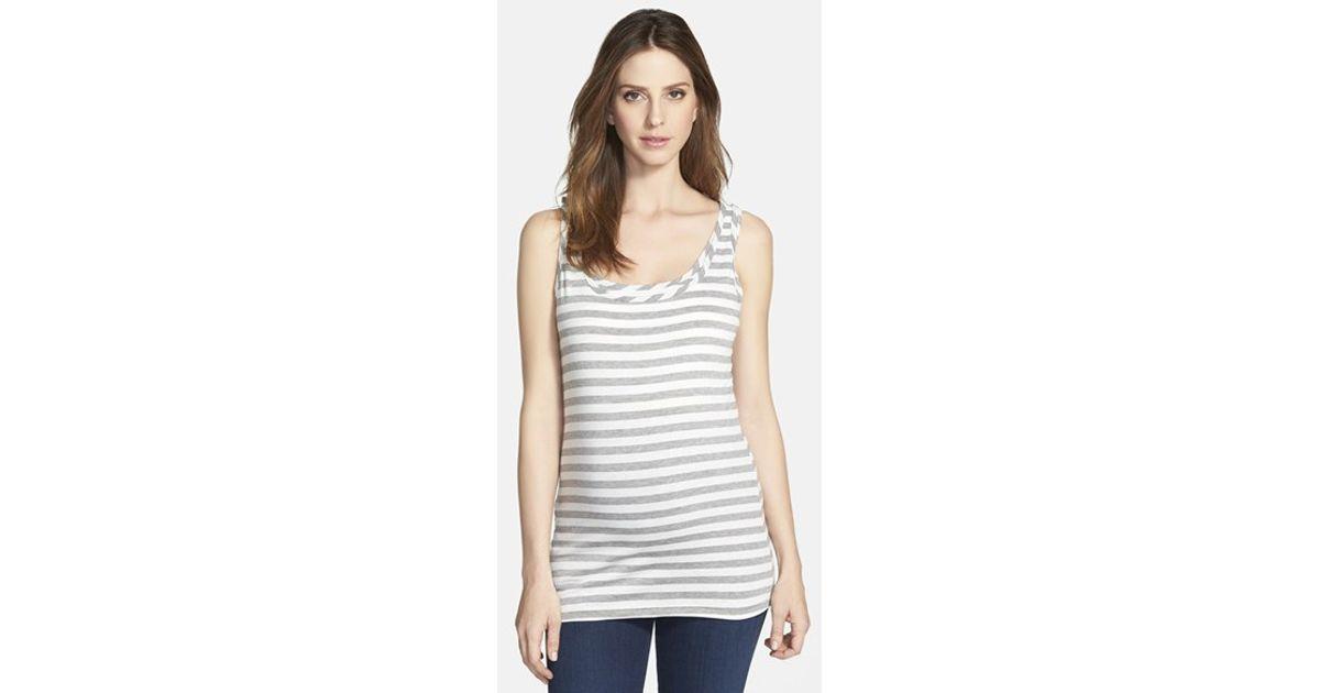 ef7e2dffb555e Lyst - Bun Maternity Stripe Maternity/nursing Tank Top in Gray