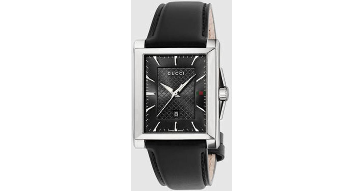 a2f8101848f Lyst - Gucci G-timeless Leather Rectangle Watch in Metallic for Men