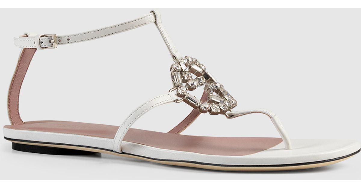106a4ad1df04 Lyst - Gucci Gg Sparkling Leather Thong Sandal in Metallic