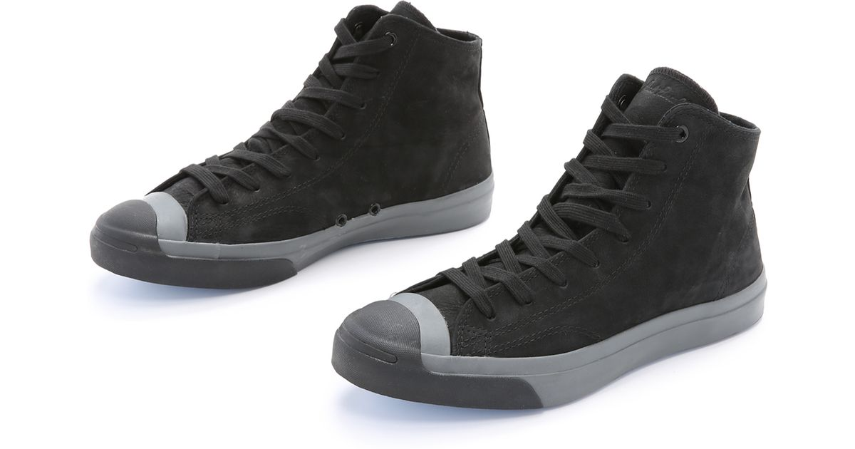 860676743ed9 Lyst - Converse Jack Purcell Nubuck Mid Top Sneakers in Black for Men