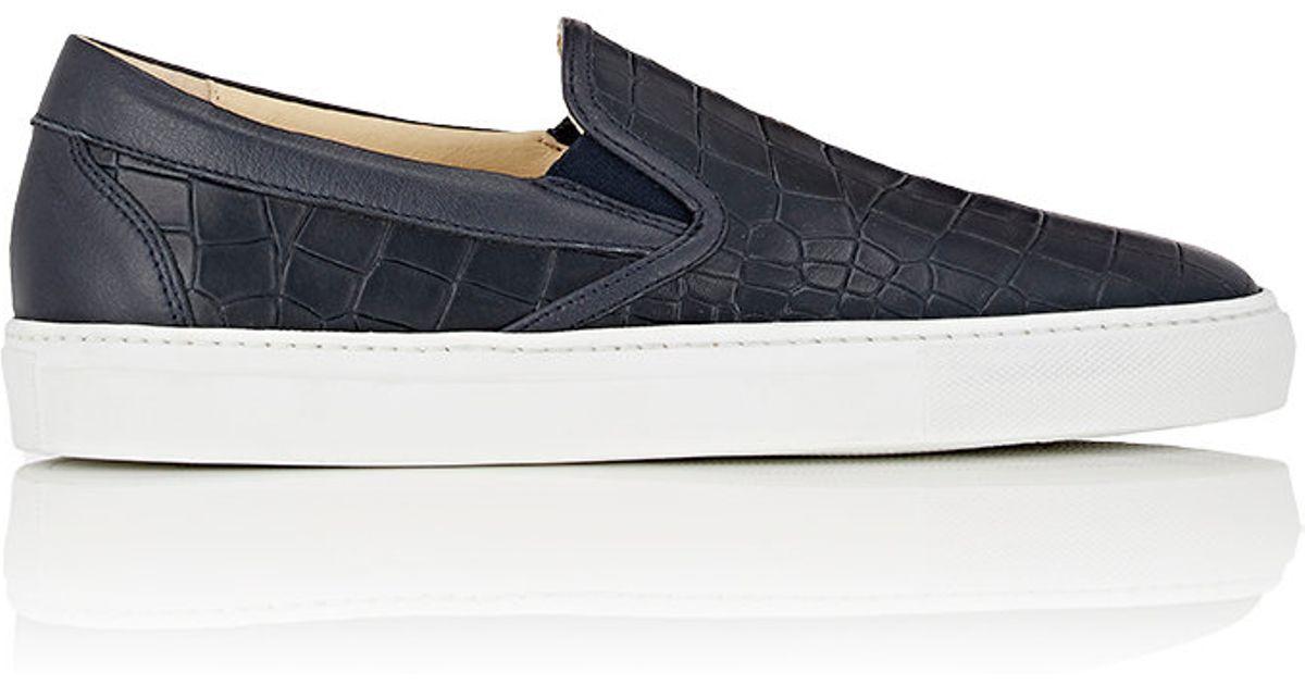 Blue Alligator Slip On Shoes