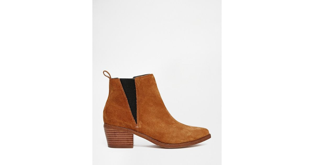 6f2557610c47 Lyst - ASOS Risked It Pointed Suede Western Chelsea Boots in Brown
