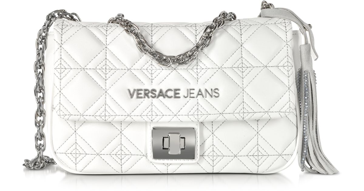 Versace Jeans White Quilted And Embroidered Crossbody Bag in White - Lyst 8d2390d723c5b