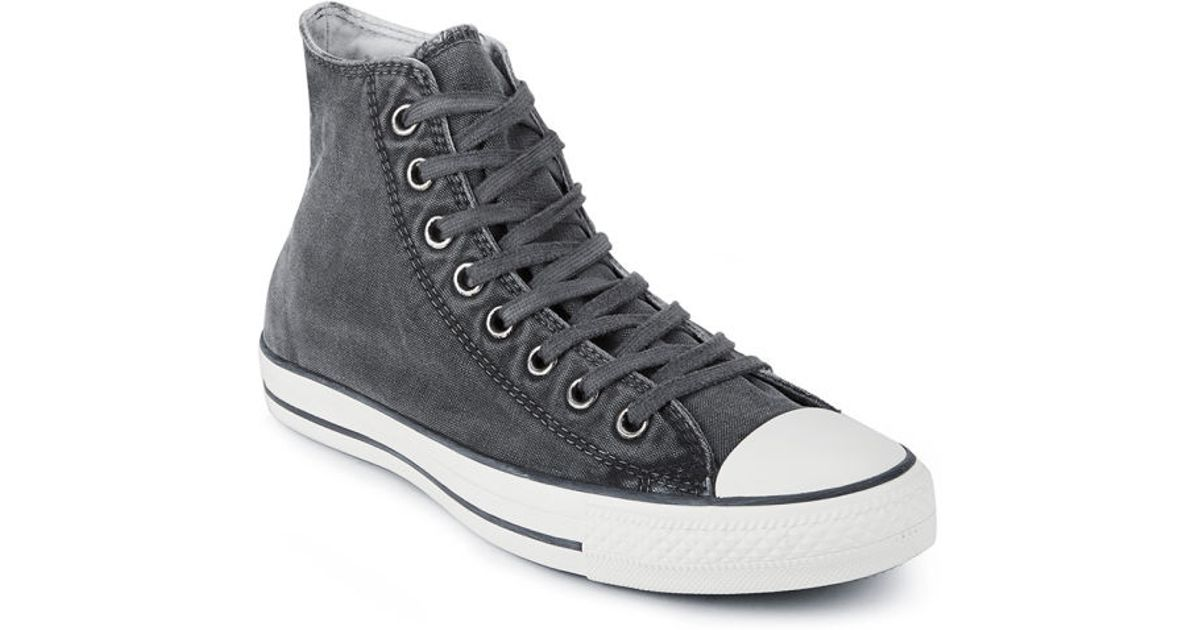 504cced5071d0b Converse Men S Chuck Taylor All Star Washed Canvas Hi-Top Trainers in Black  for Men - Lyst