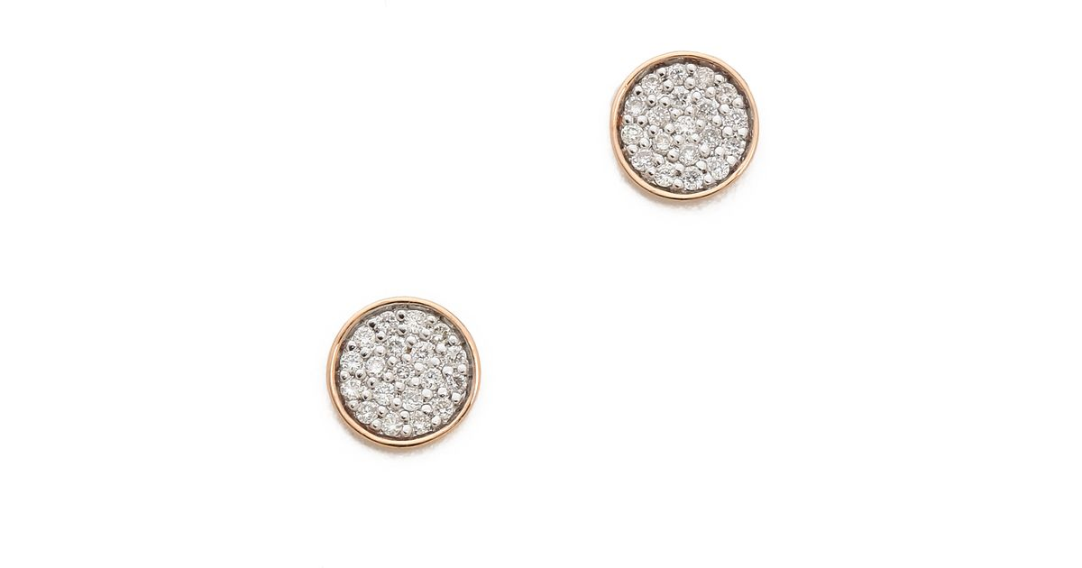 Lyst Ginette Ny Round Sequin Diamond Stud Earrings Clear Rose Gold In Metallic