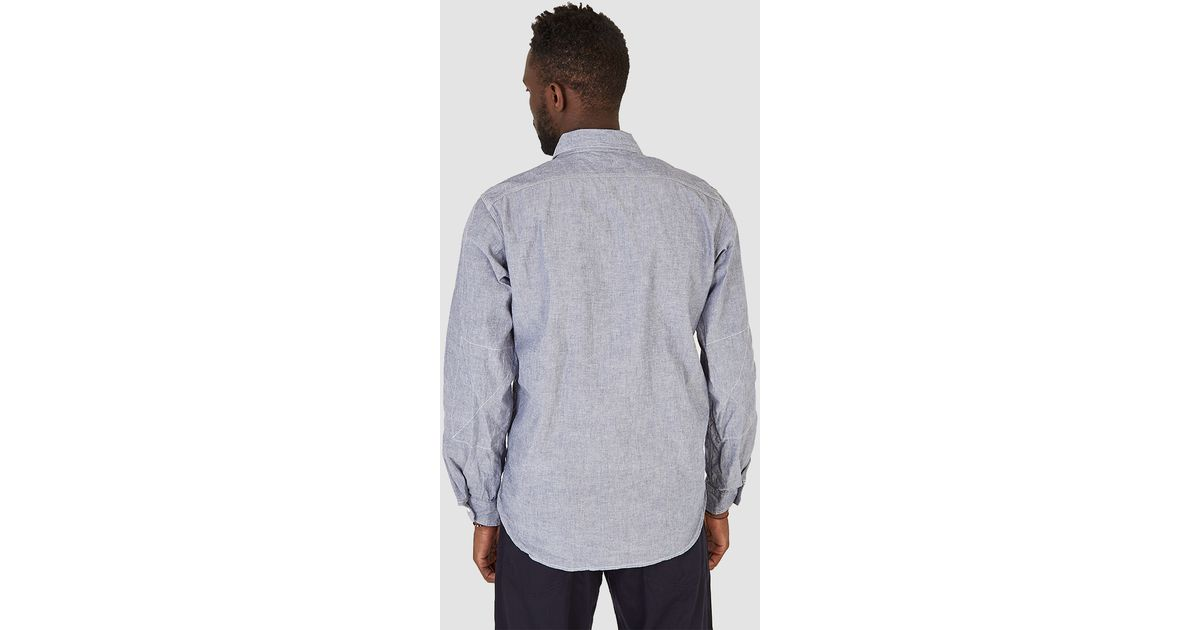 Engineered garments work shirt blue cotton chambray in for Blue cotton work shirts