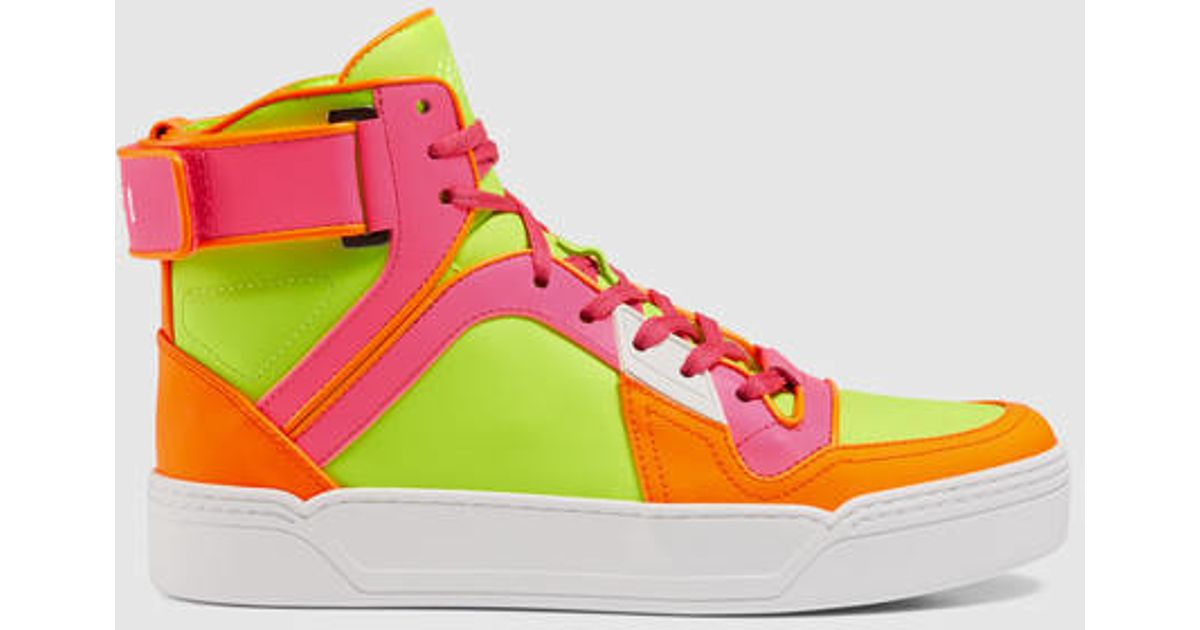2cf55937e Gucci New Basketball Neon High-top Sneaker in Green - Lyst