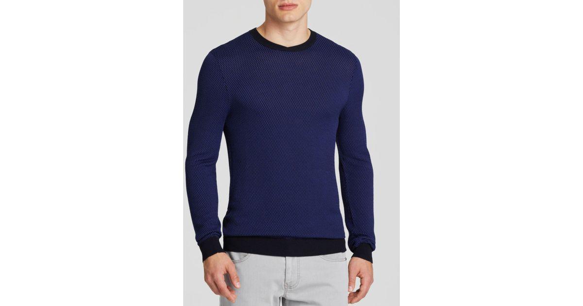 291b46fdadd6 Lyst - Armani Micro Grid Pattern Sweater in Blue for Men