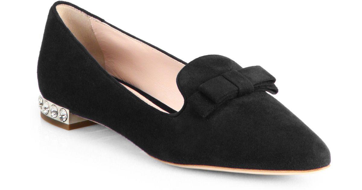ca941c62da0 Lyst - Miu Miu Suede Jeweled Heel Loafers in Black
