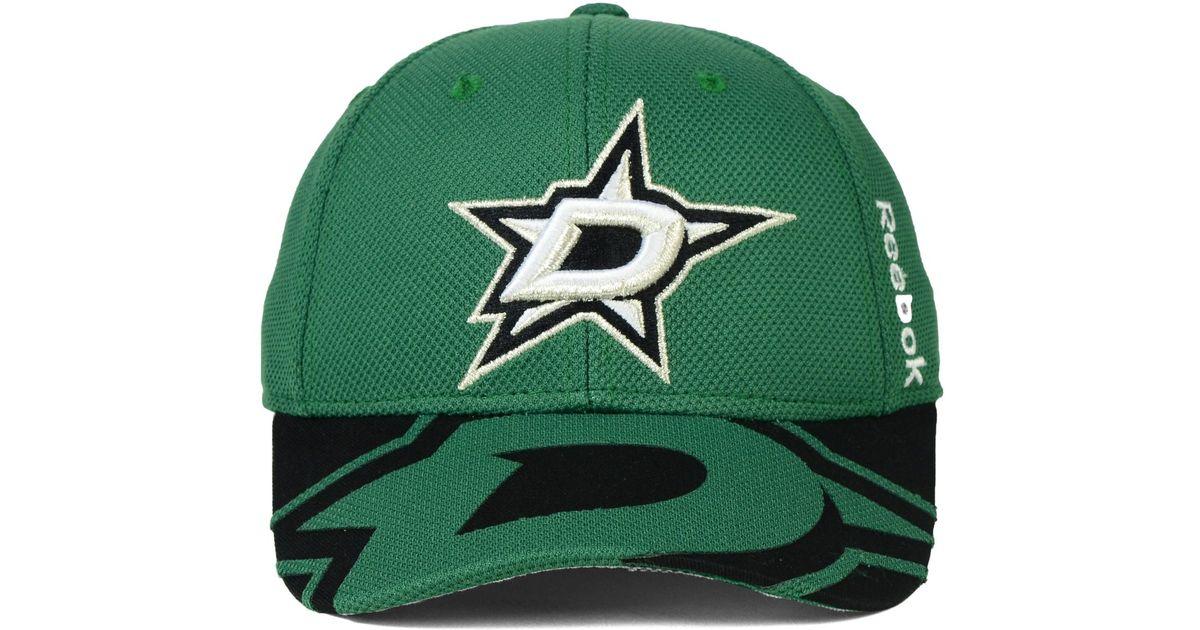 detailed look 5ca49 f5caa ... closeout lyst reebok dallas stars nhl 2015 draft flex cap in green for  men c3795 1eee9