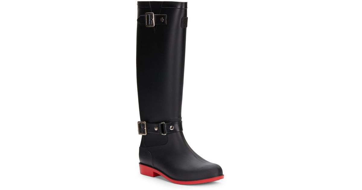 Dav Belted Equestrian Rain Boots in Black | Lyst