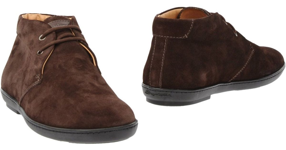 santoni ankle boots in brown for lyst
