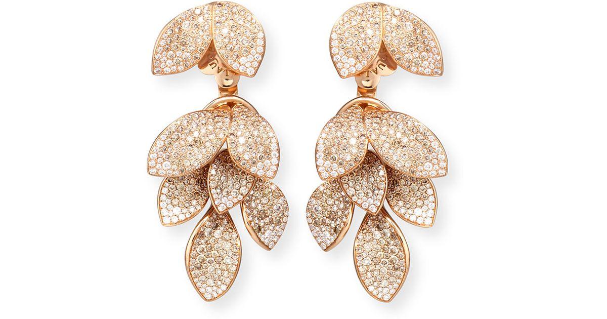 Lyst Pasquale Bruni Giardini Segreti Three Piece Diamond Leaf Earrings In Metallic