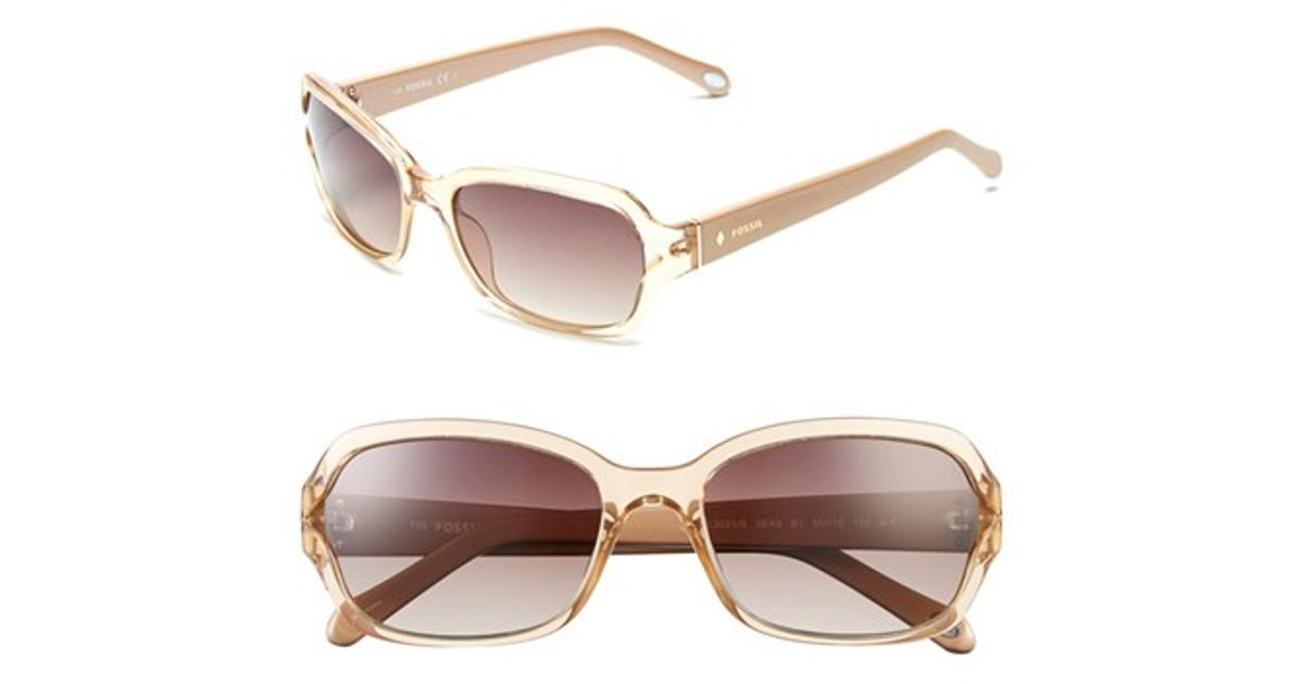 953d4093e24c Lyst - Fossil 55mm Rectangle Sunglasses - Nude Crystal in Natural